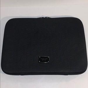 Michael Kors black padded laptop sleeve MK logo